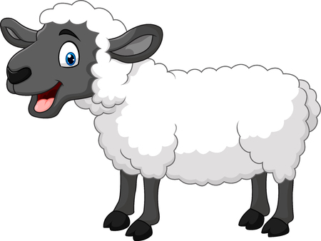 Vector illustration of Cartoon happy sheep posing isolated on white background Çizim