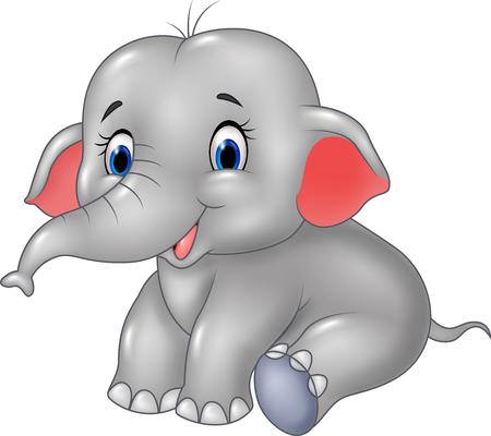 babies: Vector illustration of Cartoon baby elephant sitting isolated on white background