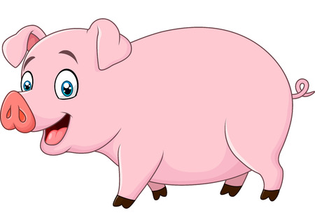 stocky: Vector illustration of Cartoon happy pig isolated on white background