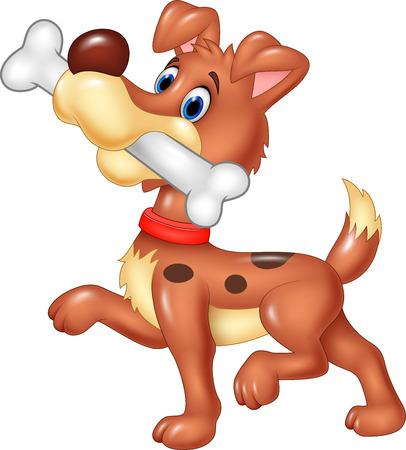 eat cartoon: Vector illustration of Cartoon funny dog with bone isolated on white background Illustration