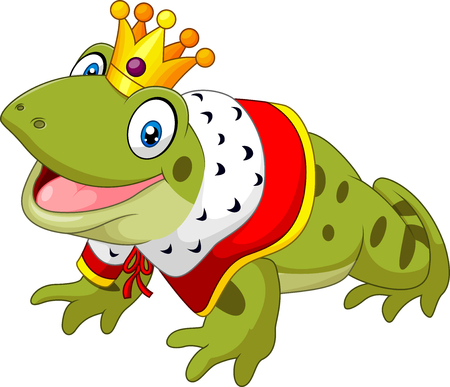 croaking: Vector illustration of Cartoon funny frog king isolated on white background Illustration