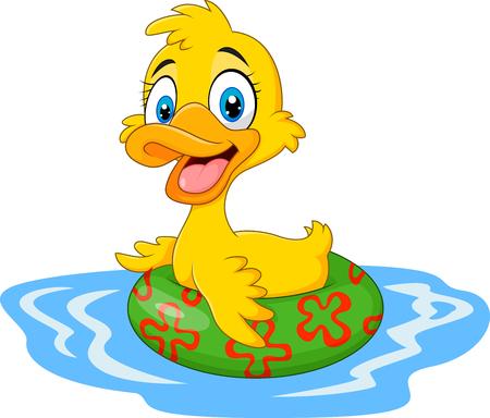 Vector ilustration van Cartoon grappige eend drijvend met opblaasbare ring