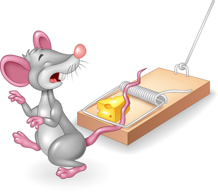 vermin: Vector illustration of Cartoon mouse in a mousetrap isolated on white background