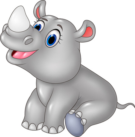 cute baby: Vector illustration of Cartoon baby rhino sitting isolated on white background Illustration