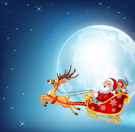 luna caricatura: Vector illustration of happy Santa in his Christmas sled being pulled by reindeer