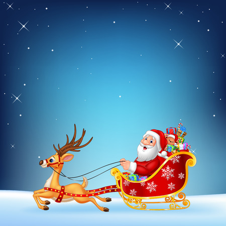 hi hat: Vector illustration of Cute Santa clause in his Christmas sled being pulled by reindeer on a night sky background Illustration