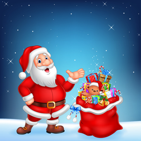 osos navideños: Ilustración del vector de la historieta divertida Santa con el saco en un fondo del cielo nocturno
