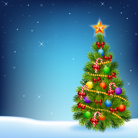 decorated: Vector illustration of decorated Christmas tree on a night sky background