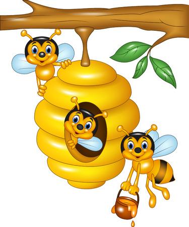 Vector illustratie van de tak van een boom met een bijenkorf en bijen