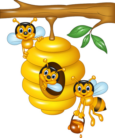 Vector illustration of branch of a tree with a beehive and bees Ilustração