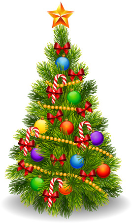 Vector illustration of decorated Christmas tree isolated on white background