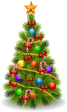 arbol de pino: Ilustración del vector del árbol de Navidad decorado aislados sobre fondo blanco