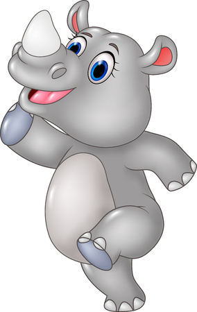 rhino vector: Vector illustration of Cartoon funny rhino posing isolated on white background