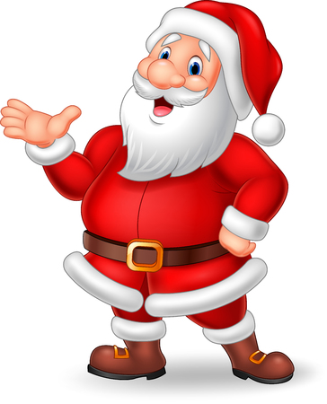 man presenting: Vector illustration of Cartoon Santa presenting isolated on white background Illustration