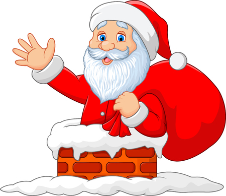 Vector illustration of Happy Santa Claus with sack in the chimney Illustration