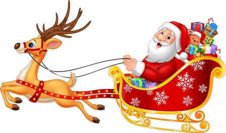 trineo: ilustración vectorial de dibujos animados divertido Santa en su trineo de Navidad tirado por renos