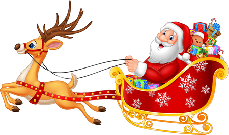 Vector illustration of Cartoon funny Santa in his Christmas sled being pulled by reindeer Stock Illustratie