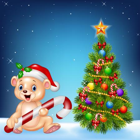 baby animal: Vector illustration of Cartoon happy bear with Christmas tree on a night sky background