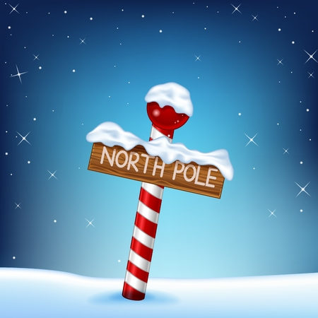 Vector illustration of A Christmas illustration of a north pole wooden sign