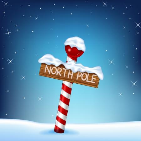 Vector ilustración de un ejemplo de la Navidad de un cartel de madera polo norte Foto de archivo - 49503917