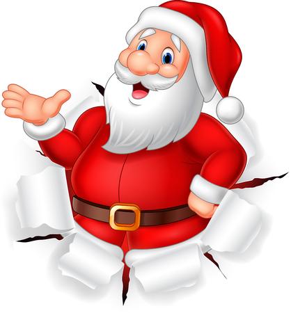 claus: Vector illustration of Cartoon funny Santa claus presenting Illustration