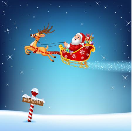 cartoon star: Ilustraci�n del vector de feliz Santa en su trineo de Navidad tirado por renos