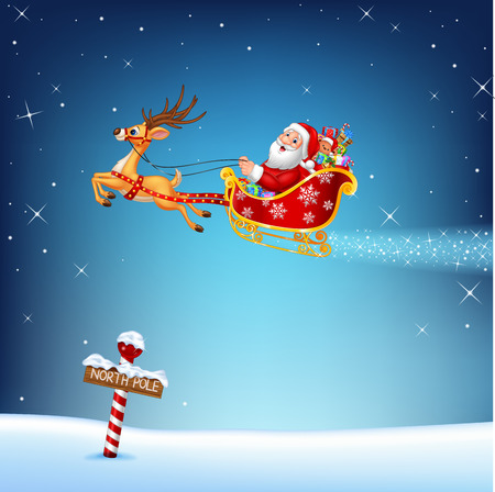 Vector illustration of Happy Santa in his Christmas sled being pulled by reindeer