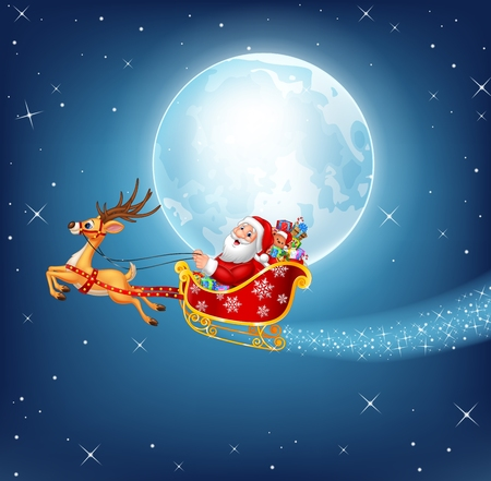 pulled: Vector Happy Santa in his Christmas sled being pulled by reindeer on a night sky background Illustration