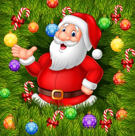 hi hat: Vector illustration of Cartoon funny Santa Clause presenting with Christmas decoration