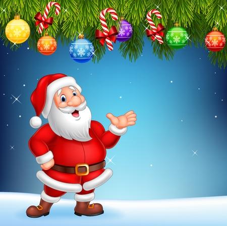 diciembre: ilustración vectorial de dibujos animados de Santa Claus agitando la mano con la decoración de Navidad