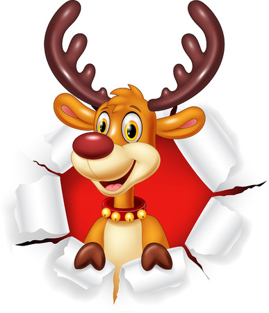 holding sign: Vector illustration of Cartoon funy deer with blank sign Isolated on white background Illustration