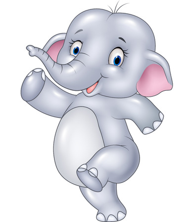 cute baby: Vector illustration of Cartoon funny elephant isolated on white background Illustration