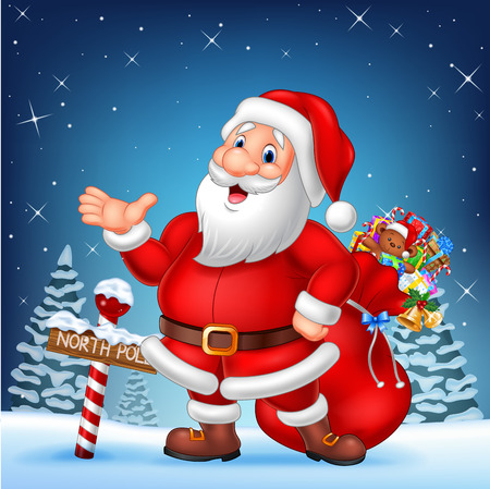 north pole sign: Vector illustration of Cartoon funny Santa presenting with a north pole wooden sign
