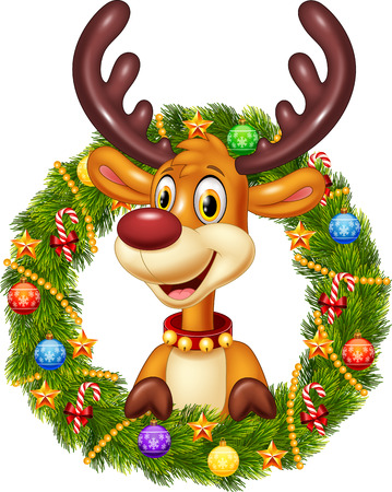 baby deer: Vector illustration of Cartoon funny deer holding Christmas Wreath with ribbons, balls and bow