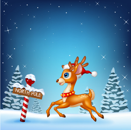 baby deer: Vector illustration of Cute baby deer running with a north pole wooden sign Illustration