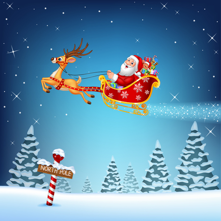 north pole sign: Vector illustration of Happy Santa in his Christmas sled being pulled by reindeer
