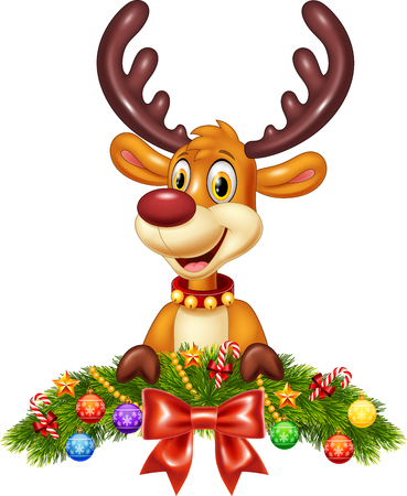 baby deer: Vector illustration of Cute baby deer with Christmas decoration
