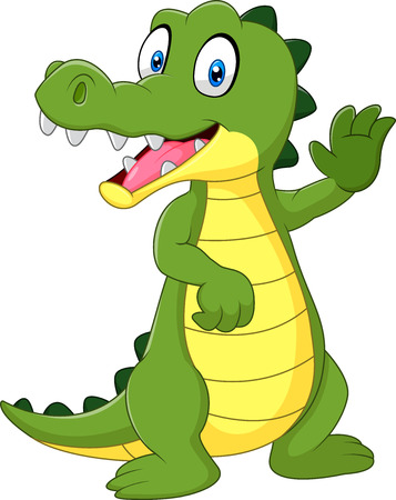 cartoon crocodile: Vector illustration of Cartoon funny crocodile waving hand isolated on white background