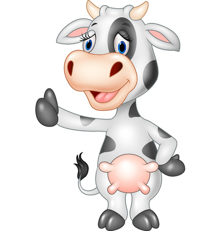thumb up icon: Vector illustration of Cartoon funny cow giving thumb up isolated on transparent background