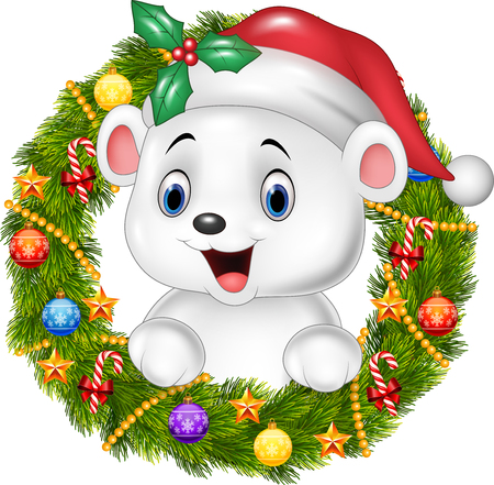 teddy wreath: Vector illustration of Cute baby polar bear holding Christmas Wreath with ribbons, balls and bow