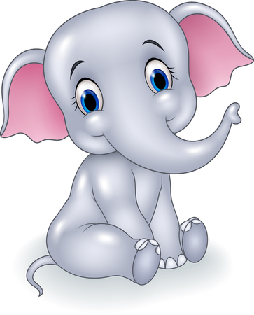 humor: Vector illustration of Cute baby elephant sitting isolated on white background