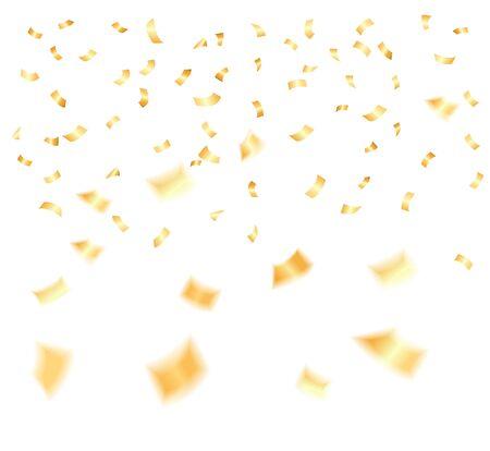 Vectorillustratie van Gouden confettiendalingen die over witte achtergrond worden geïsoleerd