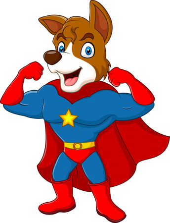 Vector illustration of Cartoon superhero dog posing isolated on white background