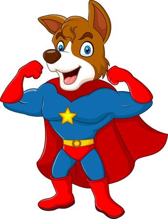 Vektorové ilustrace Cartoon superhrdiny psa představují samostatný na bílém pozadí