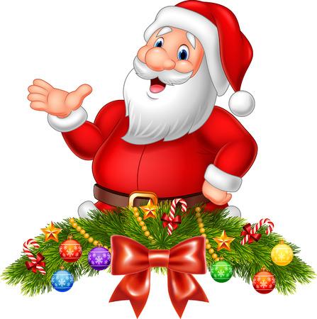 Vektorové ilustrace Cartoon Legrační Santa Claus mávání rukou s vánoční dekorace