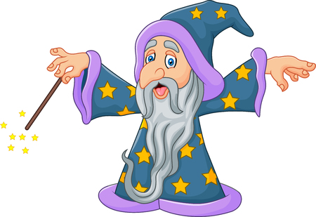 cartoon halloween: Vector illustration of Cartoon wizard is waving his magic wand isolated on white background