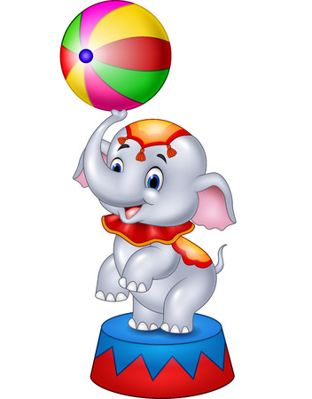 pelota caricatura: Vector illustration of Cute Circus elephant with a striped ball stands on a podium