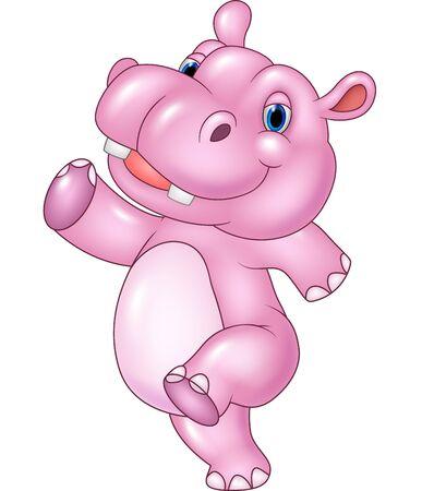 hipopotamo caricatura: Ilustración del vector del hipopótamo de la historieta del bebé funcionamiento aislado en el fondo blanco