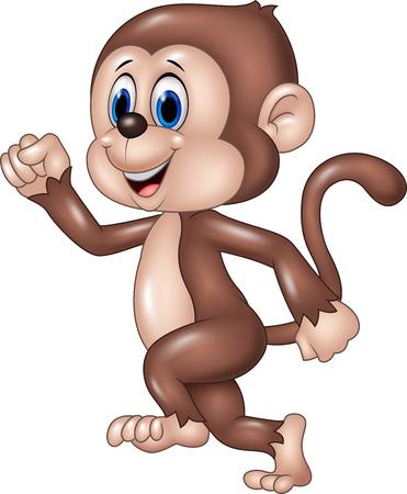 tanzen cartoon: Vector Illustration von niedlichen Affen, die auf wei�em Hintergrund