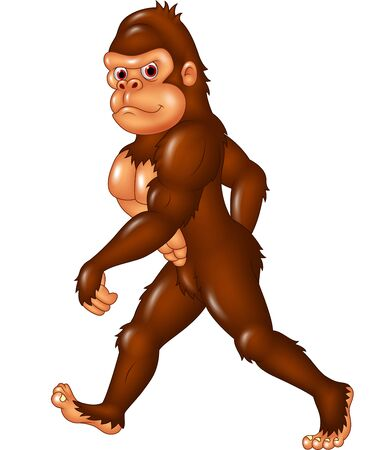 sasquatch: Vector illustration of Cartoon funny Sasquatch walking